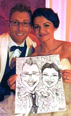 caricature artist for weddings unique wedding entertainment entertaining wedding giveaways for guests alternative wedding reception entertainment ideas for wedding guests unusual wedding entertainment ideas USA metro ny area wedding caricatures sketch artist entertainment bride & groom caricatures walk around wedding caricatures