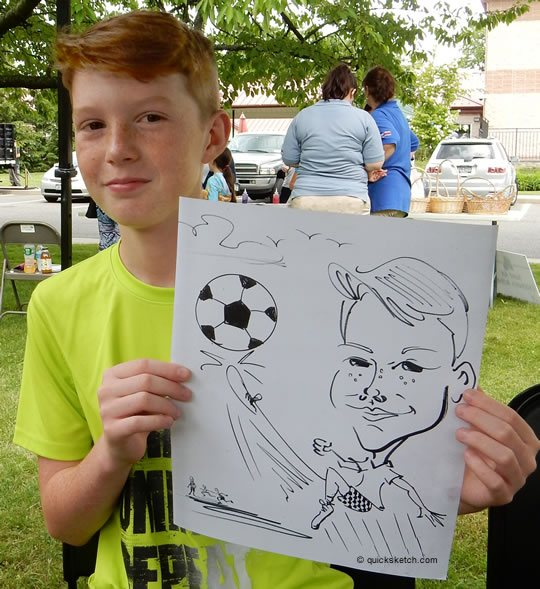 Boy playing soccer caricature