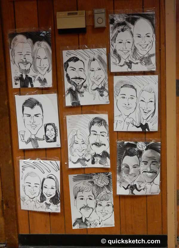 caricatures on the wall party caricature artist