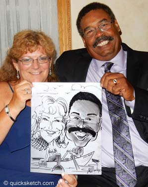 wedding couple caricature drawing