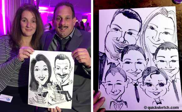 caricature artist for wedding reception long island caricatures pre-drawn background rocking chair wedding group caricature