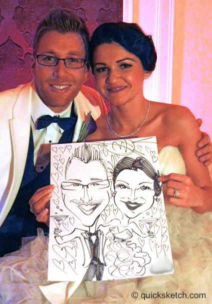 bride and groom wedding caricature artist