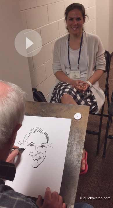 quick caricature drawing video in real time over my shoulder view artist for weddings