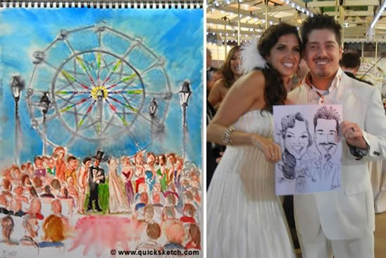 Caricatures during Wedding at Nunley's Carousel and Ferris Wheel