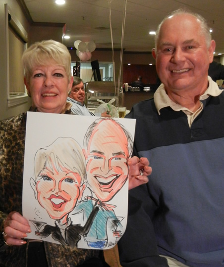 Caricature Of Couple At A Surprise Party
