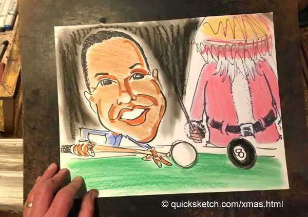 corporate holiday party caricature of guy playing pool with santa claus caricatures fast fun holiday office